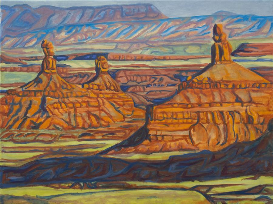 Original art for sale at UGallery.com | Evening in Valley of the Gods by CRYSTAL DIPIETRO | $1,325 | Oil painting | 18' h x 24' w | ..\art\oil-painting-Evening-in-Valley-of-the-Gods