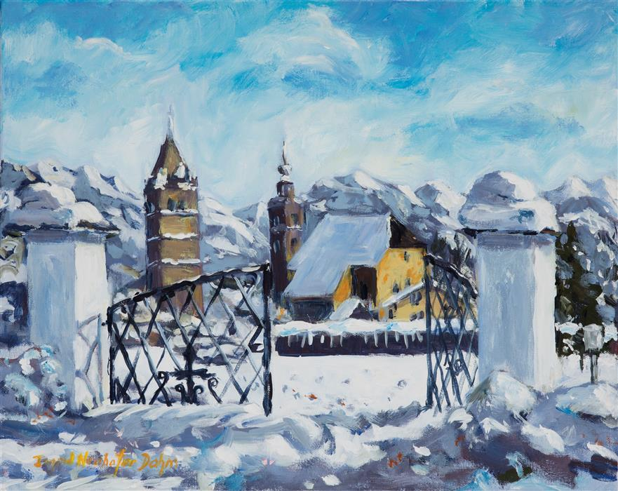 Original art for sale at UGallery.com | Kitzbuehel, Austria by INGRID DOHM | $725 |  | 16' h x 20' w | ..\art\acrylic-painting-Kitzbuehel-Austria