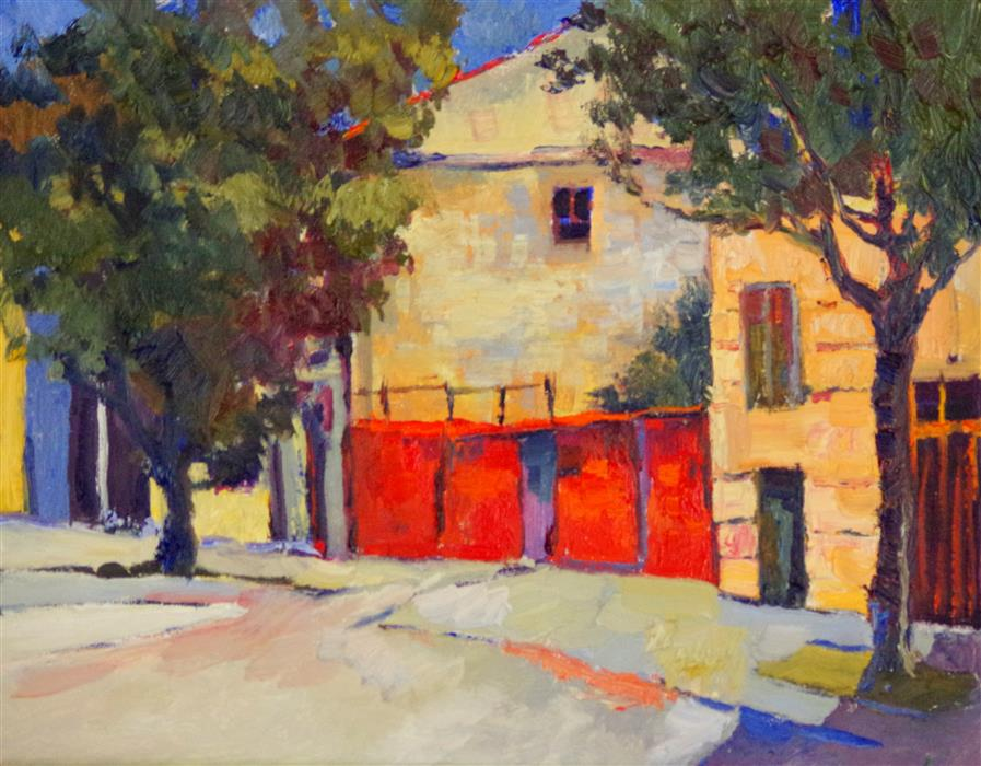 Original art for sale at UGallery.com | Red Wall in Old Town by Suren Nersisyan | $425 | oil painting | 11' h x 14' w | ..\art\oil-painting-Red-Wall-in-Old-Town