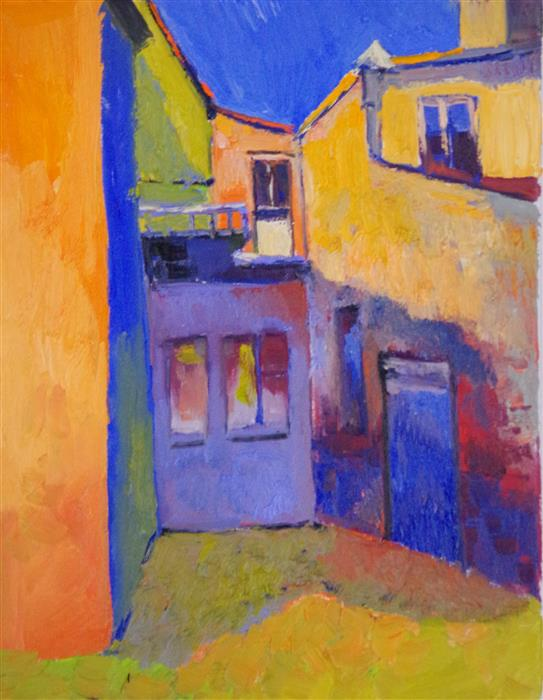 Original art for sale at UGallery.com | Colors of Old Houses by SUREN NERSISYAN | $425 |  | 14' h x 11' w | ..\art\oil-painting-Colors-of-Old-Houses