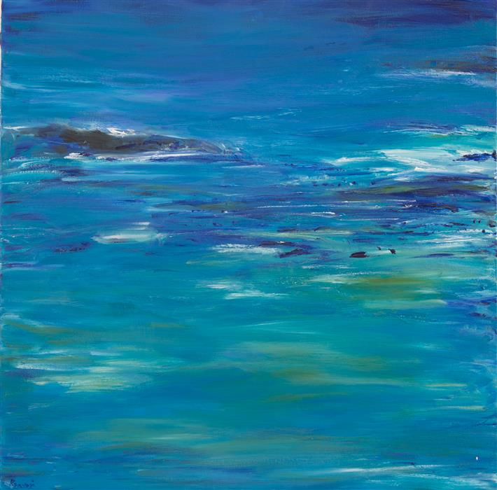 Original art for sale at UGallery.com | Serene Blue by Kajal Zaveri | $2,075 | oil painting | 30' h x 30' w | ..\art\oil-painting-Serene-Blue