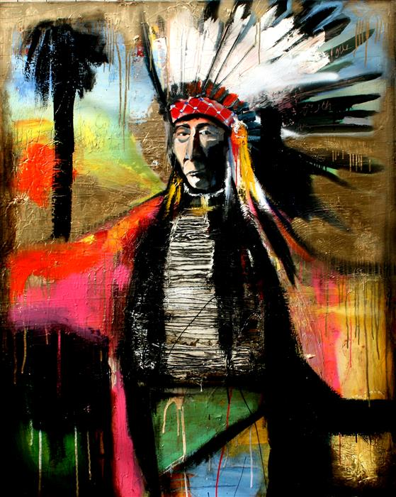 Original art for sale at UGallery.com | A Chief and Paradise by SCOTT DYKEMA | $7,925 |  | 60' h x 48' w | ..\art\mixed-media-artwork-A-Chief-and-Paradise