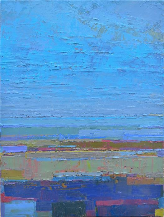 Original art for sale at UGallery.com | Blue Horizon by Srinivas Kathoju | $550 | oil painting | 20' h x 16' w | ..\art\oil-painting-Blue-Horizon-51720