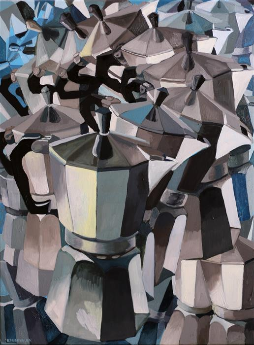 Original art for sale at UGallery.com | Blue Coffee by Rachel Srinivasan | $1,300 | oil painting | 40' h x 30' w | ..\art\oil-painting-Blue-Coffee