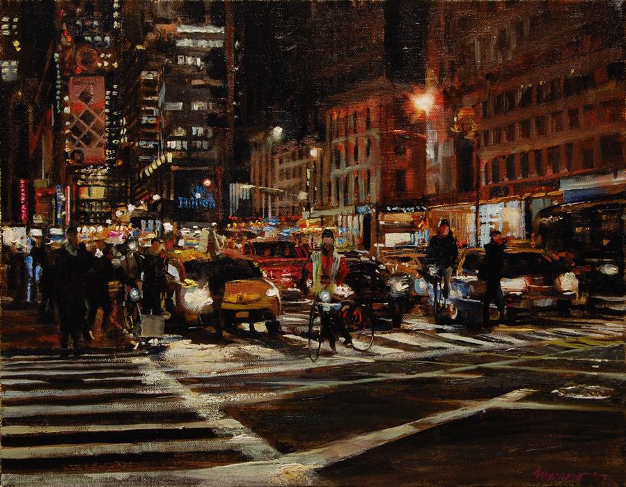 Original art for sale at UGallery.com | The Crossing at 59th and 6th by ONELIO MARRERO | $825 |  | 14' h x 18' w | ..\art\oil-painting-The-Crossing-at-59th-and-6th