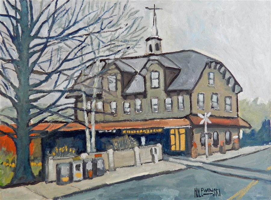 Original art for sale at UGallery.com | Lambertville Station by ROBERT  HOLEWINSKI | $1,525 |  | 17' h x 23' w | ..\art\oil-painting-Lambertville-Station