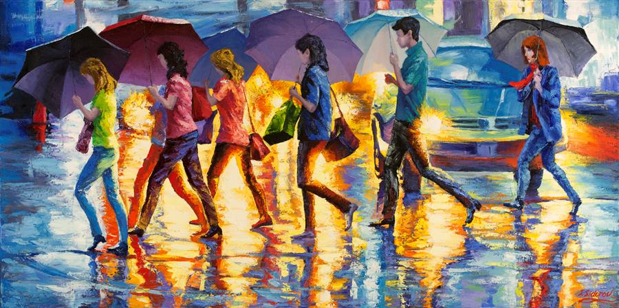 Original art for sale at UGallery.com | Summer Rainy Night, Street in New York by STANISLAV SIDOROV | $3,025 |  | 24' h x 48' w | ..\art\oil-painting-Summer-Rainy-Night-Street-in-New-York