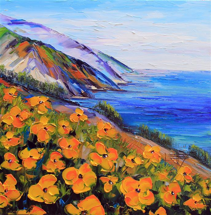 Original art for sale at UGallery.com | Big Sur by LISA ELLEY | $1,750 |  | 36' h x 36' w | ..\art\oil-painting-Big-Sur-51865