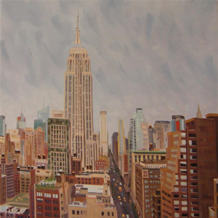 Original art for sale at UGallery.com | Rooftop View with Empire State Building by ELLEN BRADSHAW | $3,800 |  | 30' h x 30' w | ..\art\oil-painting-Rooftop-View-with-Empire-State-Building