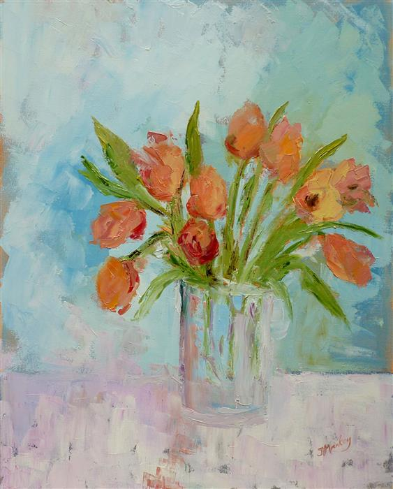 Original art for sale at UGallery.com | Mamma Mia Tulipani by Judy Mackey | $1,175 | oil painting | 30' h x 24' w | ..\art\oil-painting-Mamma-Mia-Tulipani