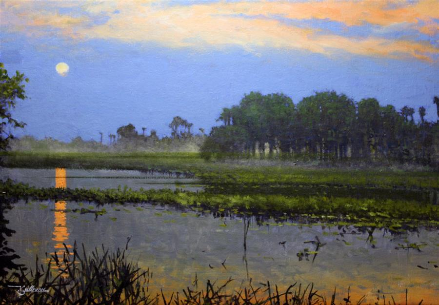 Original art for sale at UGallery.com | Everglades Dusk by KENT SULLIVAN | $1,300 | Oil painting | 16' h x 23' w | ..\art\oil-painting-Everglades-Dusk