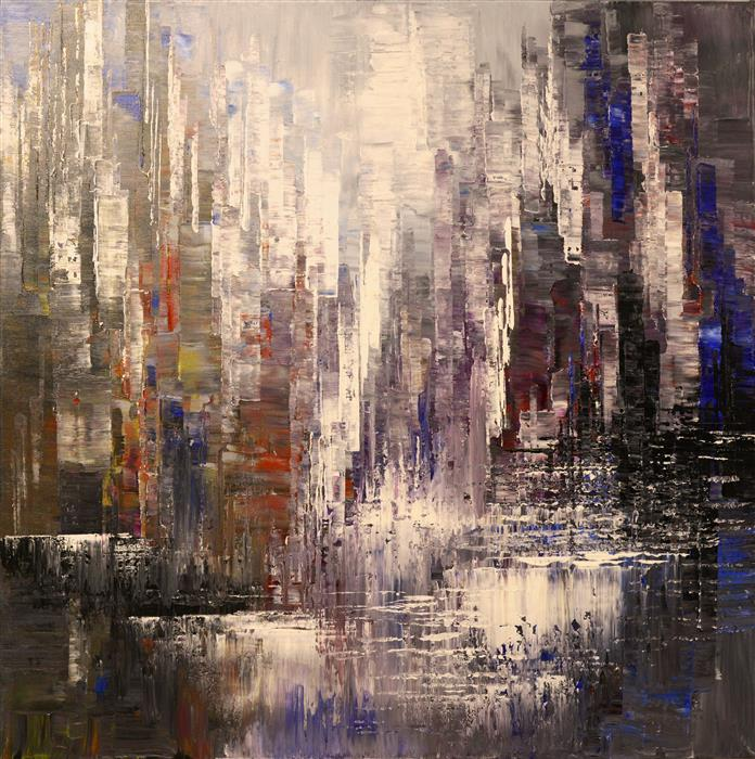 Original art for sale at UGallery.com | Urban Ramparts by Tatiana Iliina | $3,050 | acrylic painting | 36' h x 36' w | ..\art\acrylic-painting-Urban-Ramparts