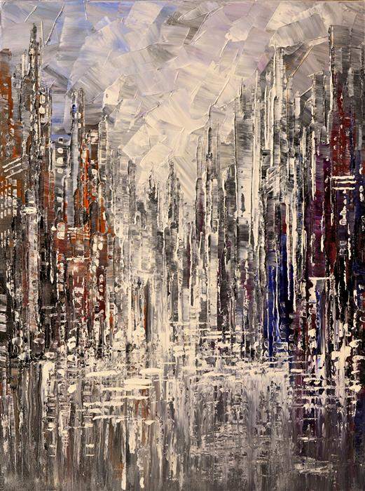 Original art for sale at UGallery.com | Pewter & Shine by TATIANA ILIINA | $775 |  | 24' h x 18' w | ..\art\acrylic-painting-Pewter-Shine