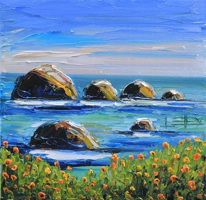 Original art for sale at UGallery.com | California Melody by LISA ELLEY | $425 |  | 12' h x 12' w | ..\art\oil-painting-California-Melody