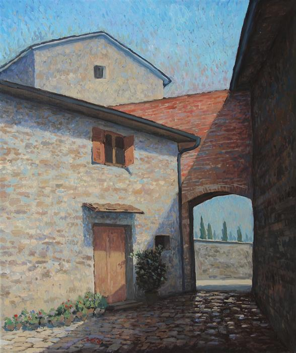 Original art for sale at UGallery.com | Montefioralle Italy by STEFAN CONKA | $1,300 |  | 25.7' h x 21.6' w | ..\art\oil-painting-Montefioralle-Italy
