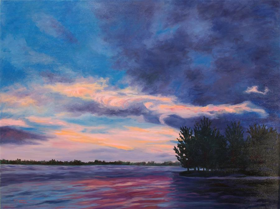 Original art for sale at UGallery.com | Coral Sky by KAREN E LEWIS | $2,100 |  | 30' h x 40' w | ..\art\oil-painting-Coral-Sky