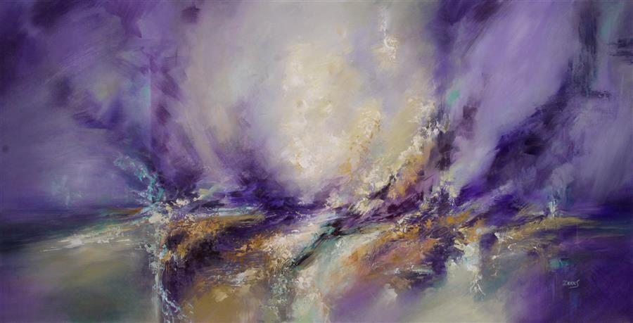 Original art for sale at UGallery.com | Purple Wind by SANDRA ZEKK | $1,950 |  | 24' h x 48' w | ..\art\oil-painting-Purple-Wind