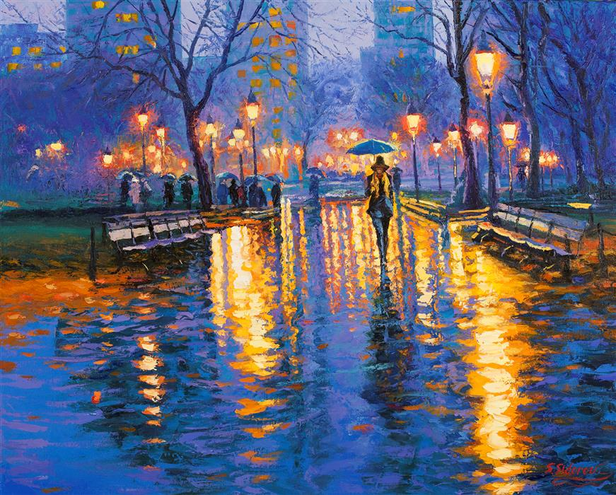 Azure Evening Central Park New York By Stanislav Sidorov Oil Painting Ugallery