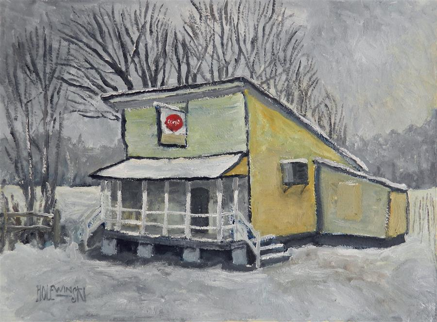 Original art for sale at UGallery.com | Country Store in Snow by ROBERT  HOLEWINSKI | $975 |  | 17' h x 23' w | ..\art\oil-painting-Country-Store-in-Snow