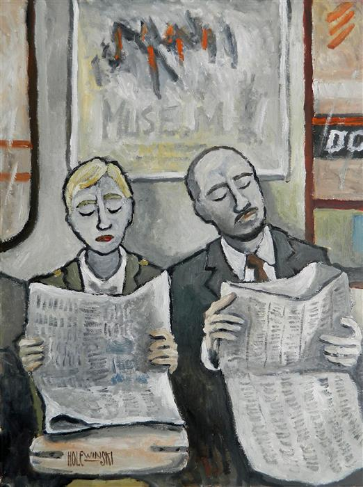 Original art for sale at UGallery.com | New York Subway by ROBERT  HOLEWINSKI | $925 |  | 23' h x 17' w | ..\art\oil-painting-New-York-Subway