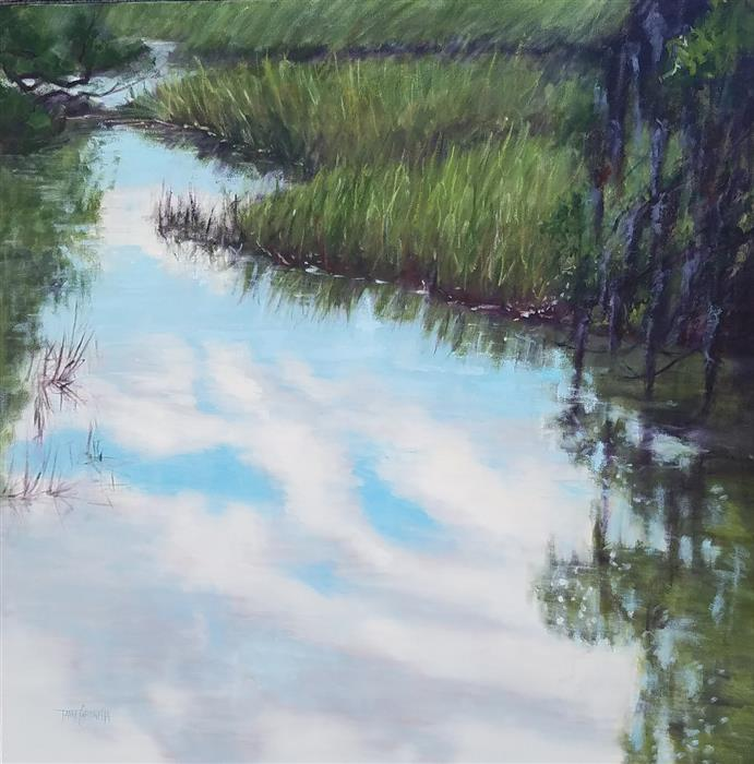 Original art for sale at UGallery.com | Distant Marsh by TAMI CARDNELLA | $2,000 | Oil painting | 30' h x 30' w | ..\art\oil-painting-Distant-Marsh