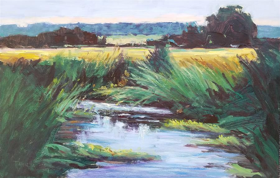 Original art for sale at UGallery.com | Emerald Marsh by TAMI CARDNELLA | $625 |  | 12' h x 18' w | ..\art\oil-painting-Emerald-Marsh
