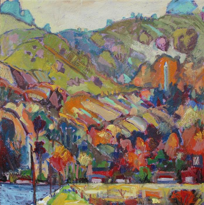 Original art for sale at UGallery.com | Berkeley Campanile from the Marina by JAMES HARTMAN | $5,875 | Oil painting | 48' h x 48' w | ..\art\oil-painting-Berkeley-Campanile-from-the-Marina