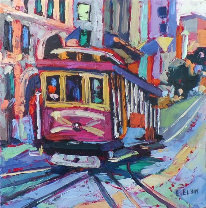 Original art for sale at UGallery.com | Cable Car by ELIZABETH ELKIN | $475 | Oil painting | 8' h x 8' w | ..\art\oil-painting-Cable-Car