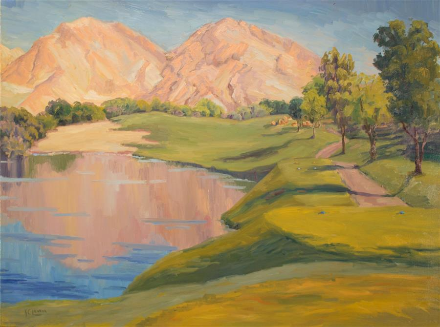 Original art for sale at UGallery.com | Mountain Reflections across the Course by KAREN E LEWIS | $2,100 | Oil painting | 30' h x 40' w | ..\art\oil-painting-Mountain-Reflections-across-the-Course