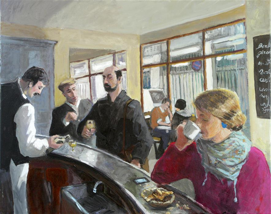 Original art for sale at UGallery.com | Café Place d'Aligre by BERTRAND GIRARD | $2,400 |  | 25' h x 31' w | ..\art\acrylic-painting-Caf-Place-d-Aligre