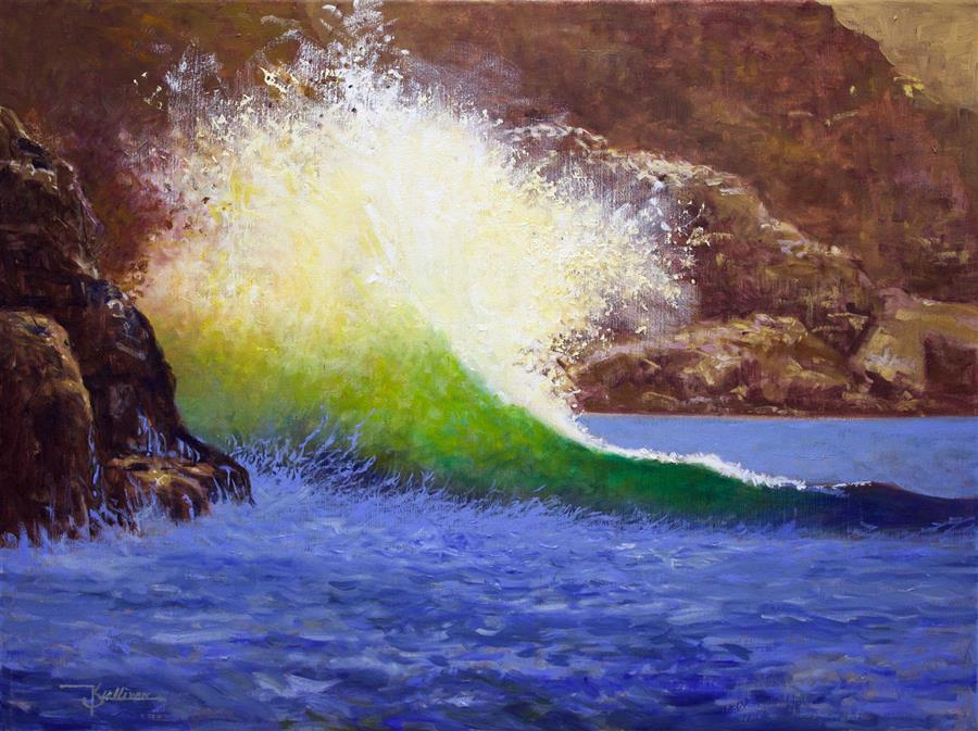 Original art for sale at UGallery.com | Brilliant Wave by Kent Sullivan | $1,275 | oil painting | 16' h x 20' w | ..\art\oil-painting-Brilliant-Wave