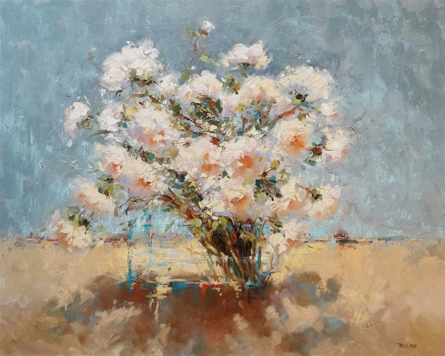 Original art for sale at UGallery.com | Delicate Flowers by Tricia May | $2,125 | oil painting | 24' h x 30' w | ..\art\oil-painting-Delicate-Flowers