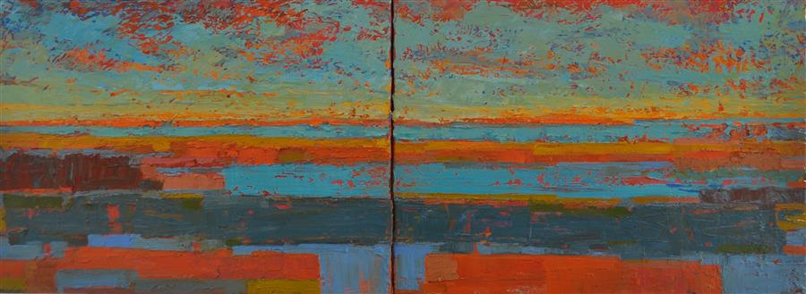 Original art for sale at UGallery.com | Fields and the Lake at the Horizon by SRINIVAS KATHOJU | $1,100 |  | 18' h x 48' w | ..\art\oil-painting-Fields-and-the-Lake-at-the-Horizon