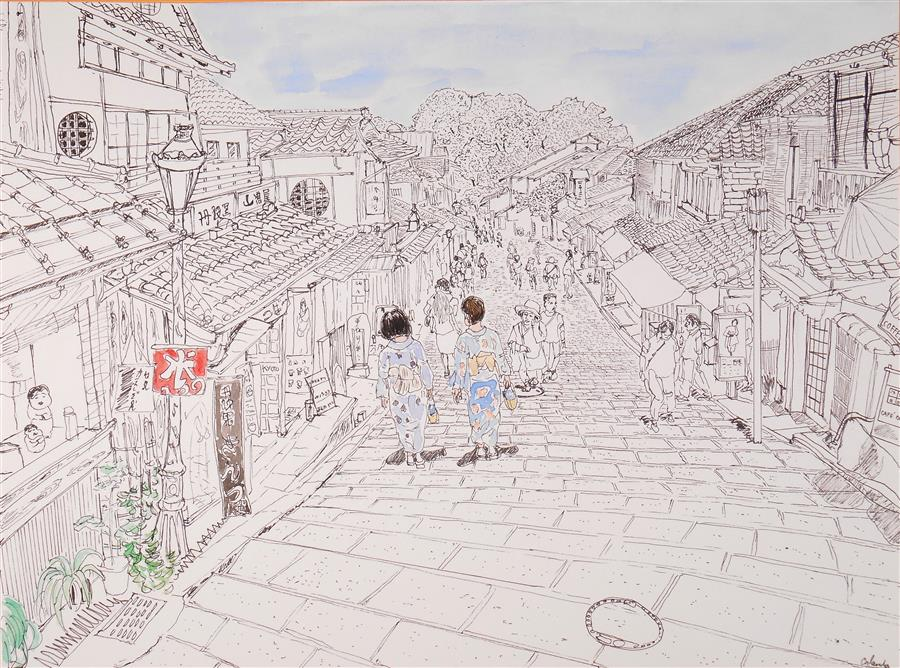 Original art for sale at UGallery.com | Shopping Street Kyoto by ORLANDO MARIN-LOPEZ | $500 | Ink artwork | 8.3' h x 11.5' w | ..\art\ink-artwork-Shopping-Street-Kyoto