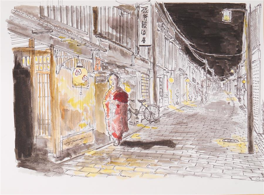 Original art for sale at UGallery.com | Kyoto Red Kimono at Night by ORLANDO MARIN-LOPEZ | $500 | Ink artwork | 8.3' h x 11.5' w | ..\art\ink-artwork-Kyoto-Red-Kimono-at-Night