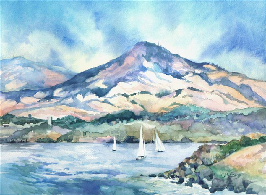 Original art for sale at UGallery.com | Mt. Diablo, Port Costa View by CATHERINE MCCARGAR | $875 |  | 15.5' h x 21' w | ..\art\watercolor-painting-Mt-Diablo-Port-Costa-View