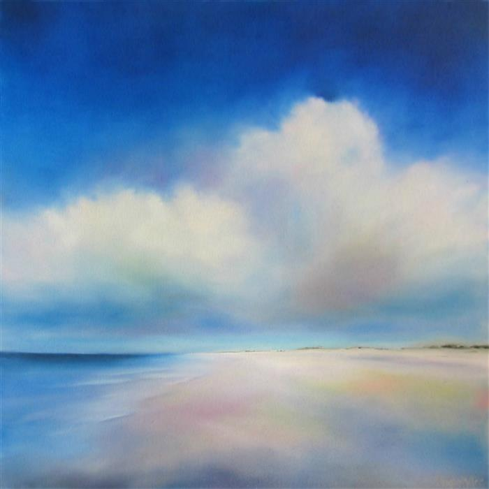 Original art for sale at UGallery.com | Beach Blues by NANCY HUGHES MILLER | $1,175 |  | 30' h x 30' w | ..\art\oil-painting-Beach-Blues