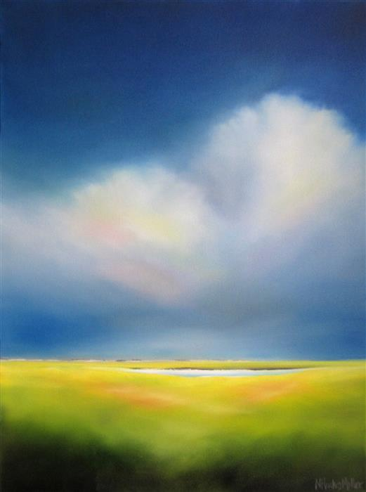 Original art for sale at UGallery.com | Cloud Over Marsh by NANCY HUGHES MILLER | $875 |  | 24' h x 18' w | ..\art\oil-painting-Cloud-Over-Marsh
