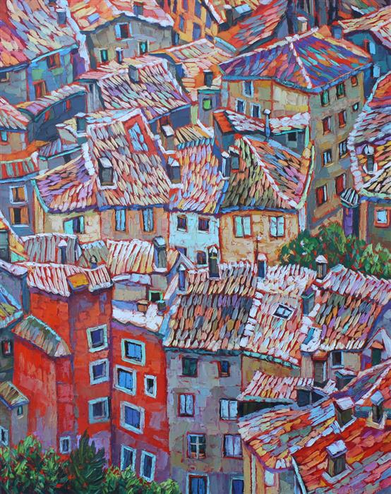 Original art for sale at UGallery.com | Rooftops View, Provence by ELIZABETH ELKIN | $2,175 |  | 30' h x 24' w | ..\art\oil-painting-Rooftops-View-Provence
