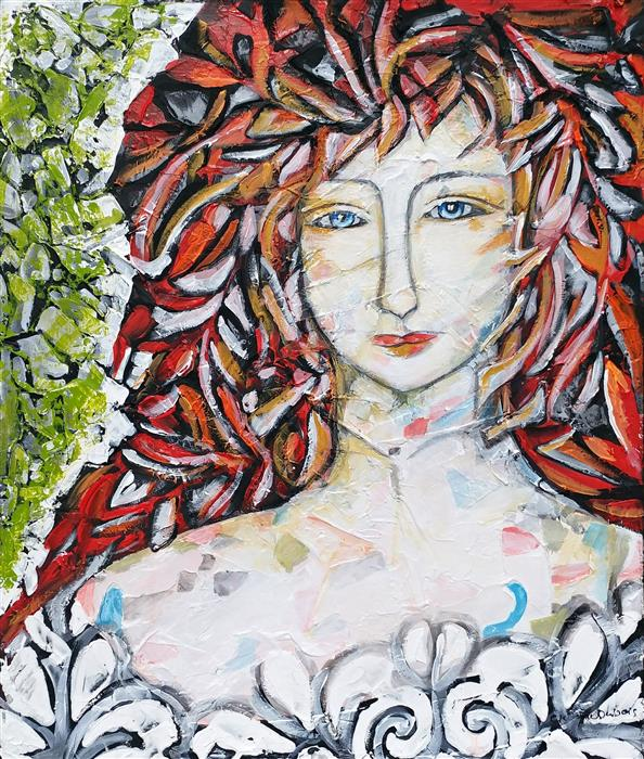 Original art for sale at UGallery.com | Jade by Clemence Dubois | $1,250 | mixed media artwork | 24' h x 20' w | ..\art\mixed-media-artwork-Jade