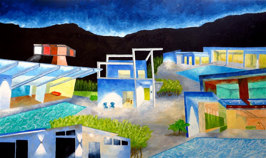 Original art for sale at UGallery.com | Edge of Night in a Modern Neighborhood by MITCHELL FREIFELD | $2,225 |  | 30' h x 50' w | ..\art\oil-painting-Edge-of-Night-in-a-Modern-Neighborhood