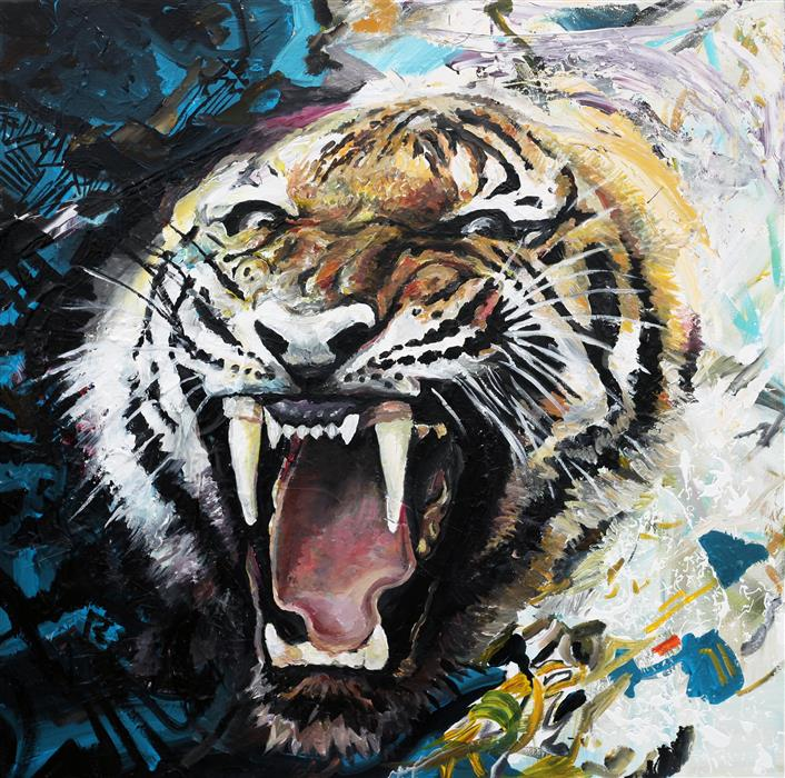 Original art for sale at UGallery.com | Tiger Roar by PIERO MANRIQUE | $1,650 |  | 36' h x 36' w | ..\art\acrylic-painting-Tiger-Roar