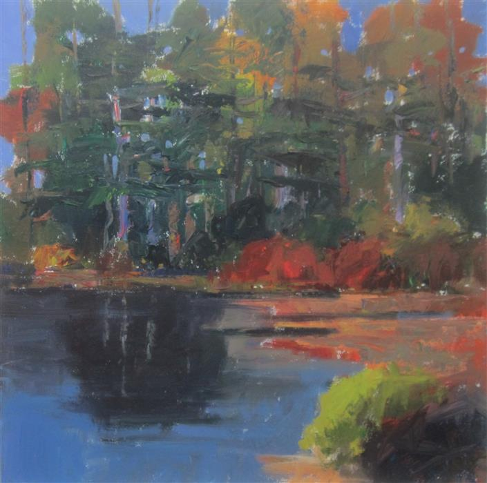 Original art for sale at UGallery.com | Edge of Pond, Harriman by JANET DYER | $1,150 |  | 24' h x 24' w | ..\art\acrylic-painting-Edge-of-Pond-Harriman