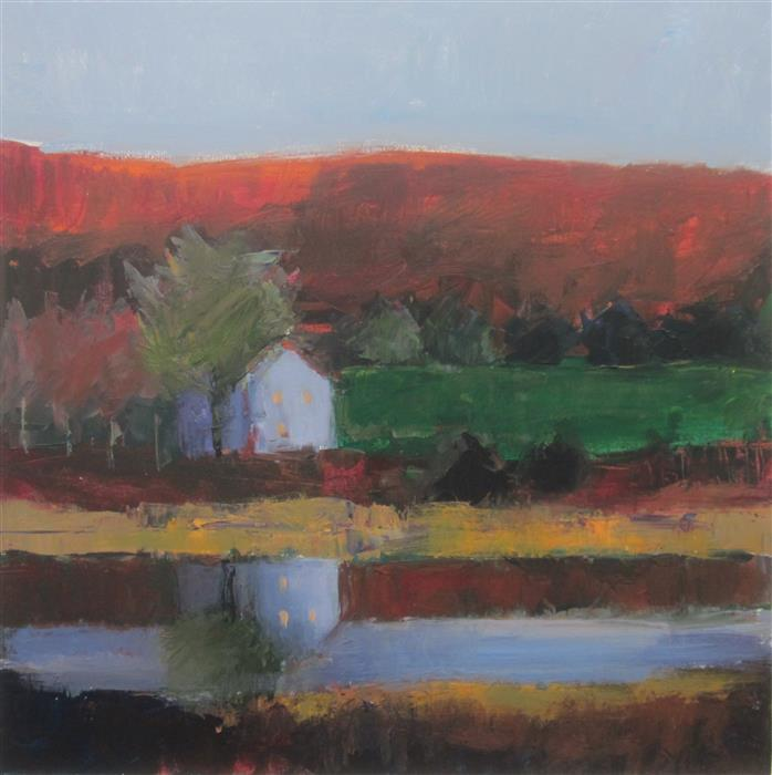 Original art for sale at UGallery.com | House by Pond, Mercer by Janet Dyer | $1,150 | acrylic painting | 24' h x 24' w | ..\art\acrylic-painting-House-by-Pond-Mercer