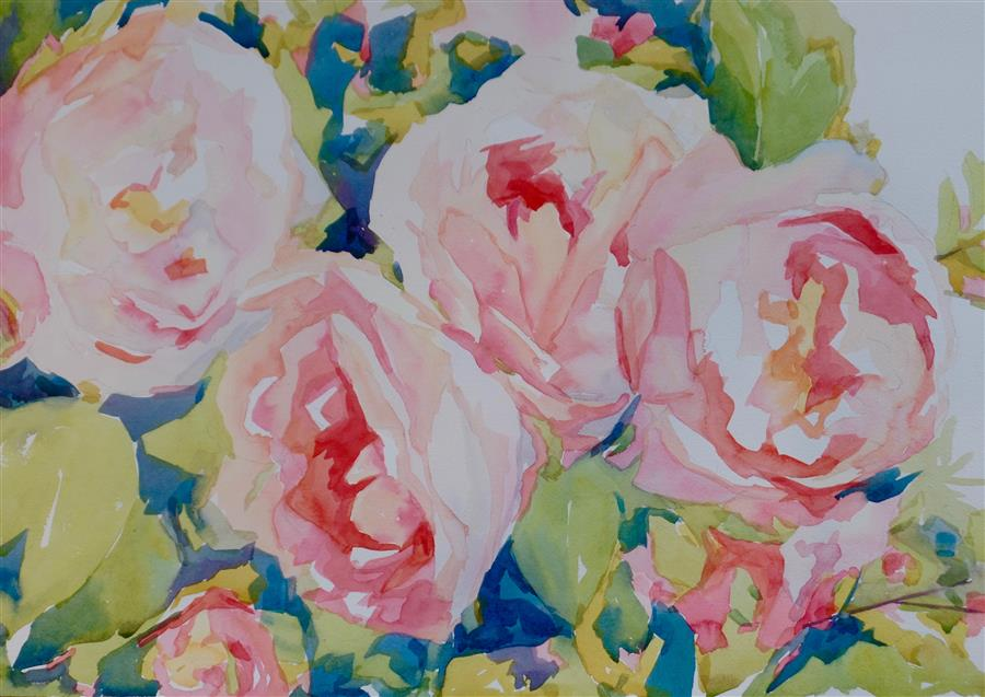 Original art for sale at UGallery.com | Roses to Go by JO MACKENZIE | $550 |  | 14' h x 20' w | ..\art\watercolor-painting-Roses-to-Go