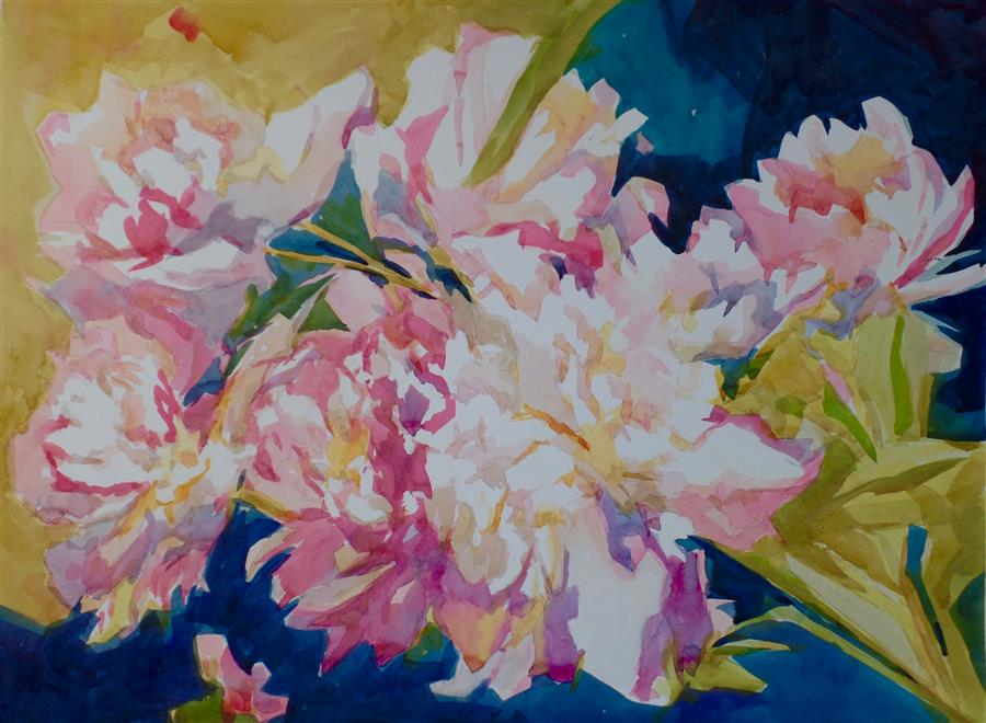 Original art for sale at UGallery.com | Peonies in the Shade by JO MACKENZIE | $600 |  | 18' h x 24' w | ..\art\watercolor-painting-Peonies-in-the-Shade