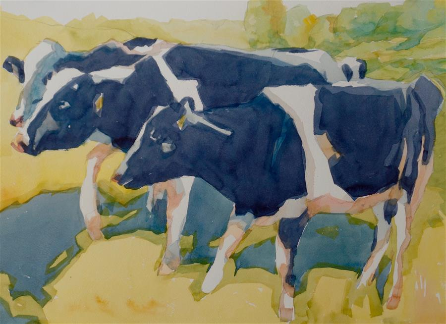 Original art for sale at UGallery.com | Cows by JO MACKENZIE | $575 | Watercolor painting | 14' h x 20' w | ..\art\watercolor-painting-Cows