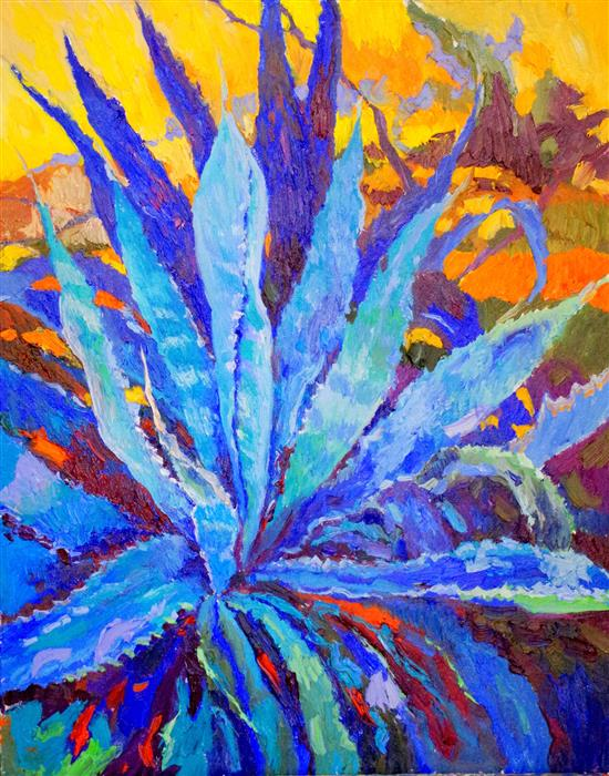 Original art for sale at UGallery.com | Blue Agave by SUREN NERSISYAN | $1,075 |  | 30' h x 24' w | ..\art\oil-painting-Blue-Agave