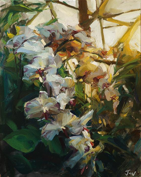 Original art for sale at UGallery.com | Orchid Flowers by JAY WONG | $725 | Oil painting | 20' h x 16' w | ..\art\oil-painting-Orchid-Flowers