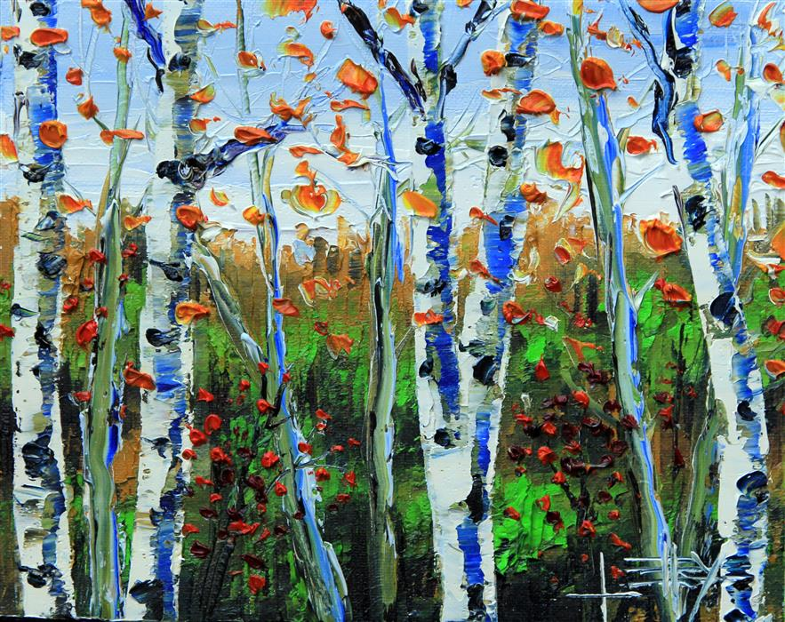 Original art for sale at UGallery.com | Silver Birch by LISA ELLEY | $300 |  | 8' h x 10' w | ..\art\oil-painting-Silver-Birch